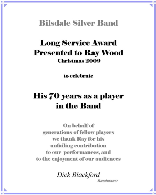 Long Service Award Presented to Ray Wood;  click to see image of Ray...