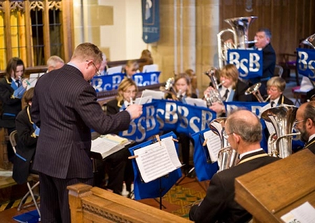 Damian Dunphy conducting Bilsdale Silver Band at the 2008 Ryedale Festival (photo courtesy of Steve Hailey)